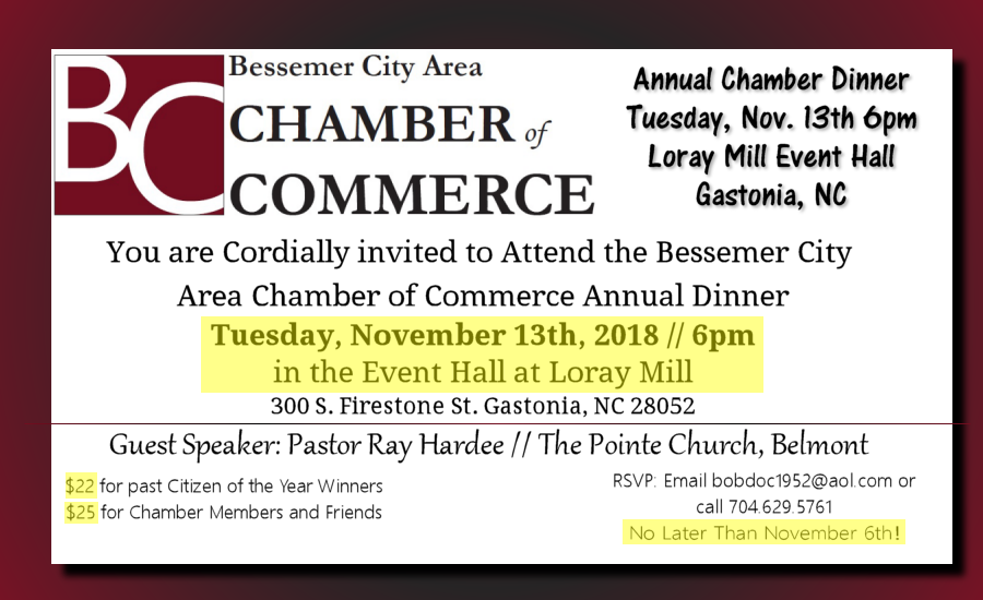 Annual Chamber Dinner @ Loray Mill Event Hall | Gastonia | North Carolina | United States